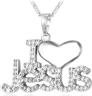 U7 Christian Jewelry 18K Gold Plated Jesus Piece Love Necklace Cubic Zirconia I Love Jesus Pendant