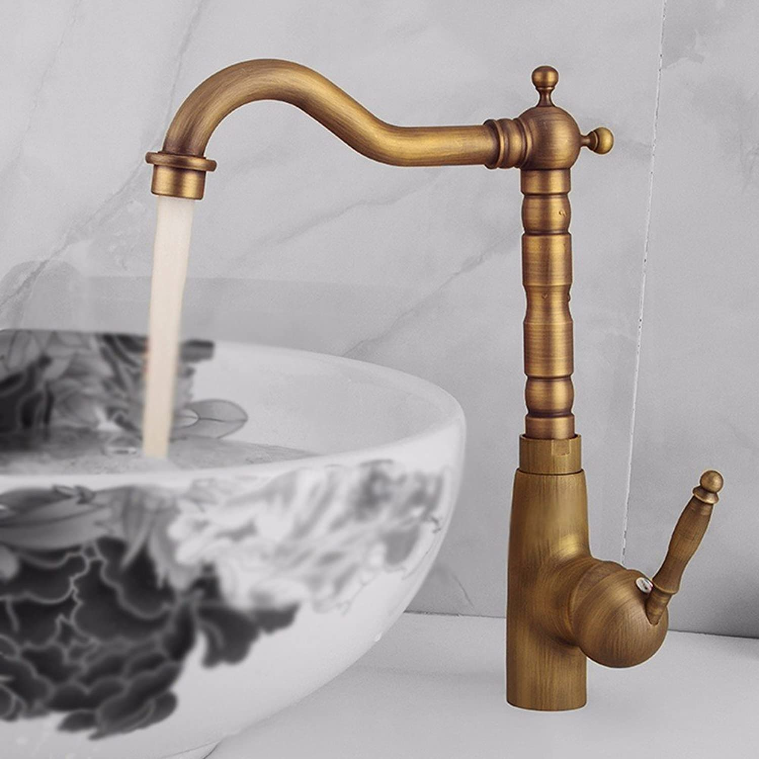 AWXJX European Style Retro All Copper Hot And Cold Single Hole Washbasin Single Handle Sink Faucet (29  18Cm)