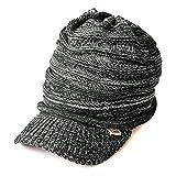 CHARM ニット キャスケット [フリーサイズ ミックスブラック つば付き] ニット帽/帽子/サマーニット帽/サマーニットキャップ/夏/メンズ/レディース