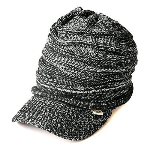 CHARM ニット キャスケット [フリーサイズ ミックスブラック つば付き] ニット帽/帽子/サマーニット帽/サマ...