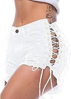 Aiweijia Corto Pantalones Mujer Mezclilla Pantalones Cortos con Borla Medio Cintura Casual Corto Pantalones