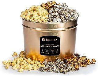 Popinsanity Gourmet Popcorn Gift Baskets Deluxe Multi Flavored Popcorn Tin 2 Gallon Sweet & Salty | Cookies & Cream, Caram...