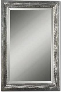 Uttermost B Silver Leaf Triple Beaded Vanity Beveled Mirror