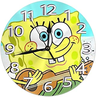 JIEKEME Decorative Wall Clock Spongebob Squarepants Guitar Silent Non-Ticking Digital Clock Battery Operated Round Easy to Read Home/Office/School Clock