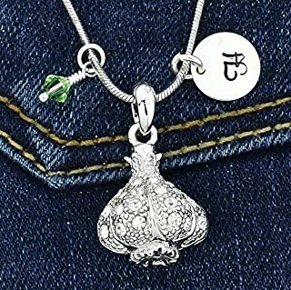 Garlic Custom Pendant Sparkling Crystals Personalized Necklace Hand Stamped Initial Letter and Birthstone Charms Chain Gift Jewelry