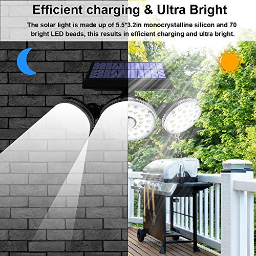 2 Pack Solar Lights Outdoor,3 Modes with Motion Sensor Lights, 70 LED 3 Adjustable Heads Flood Lights, 270° Rotatable Wireless Spotlights, IP65 Waterproof for Garage Pathway Porch Garden Patio Yard