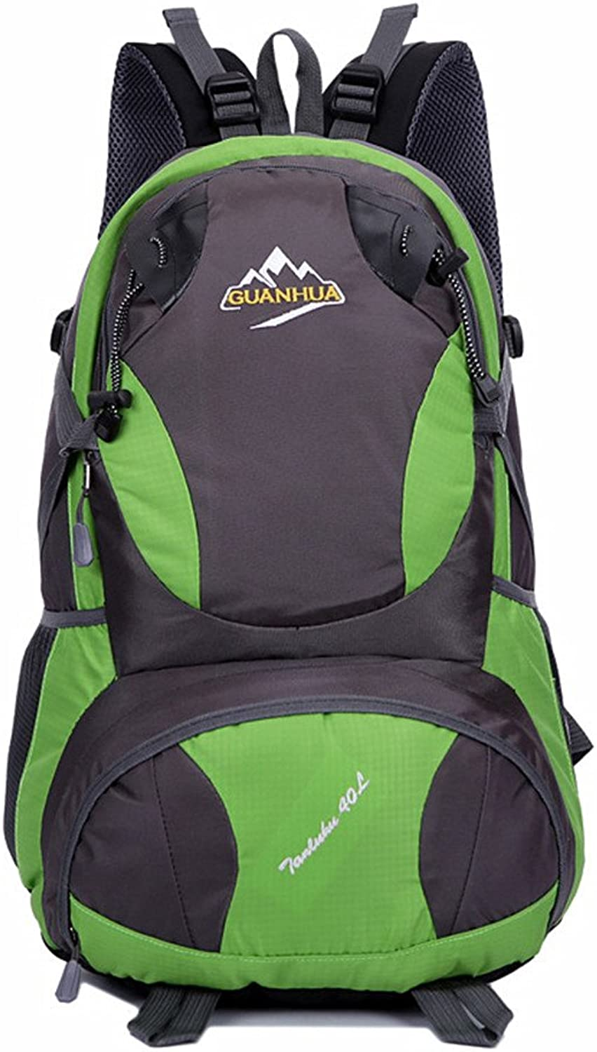 Backpacks Waterproof Shoulder Pad MultiFunction Travel Hiking Camp Hiking Backpack Suitable for Outdoor Sports (color   Green)