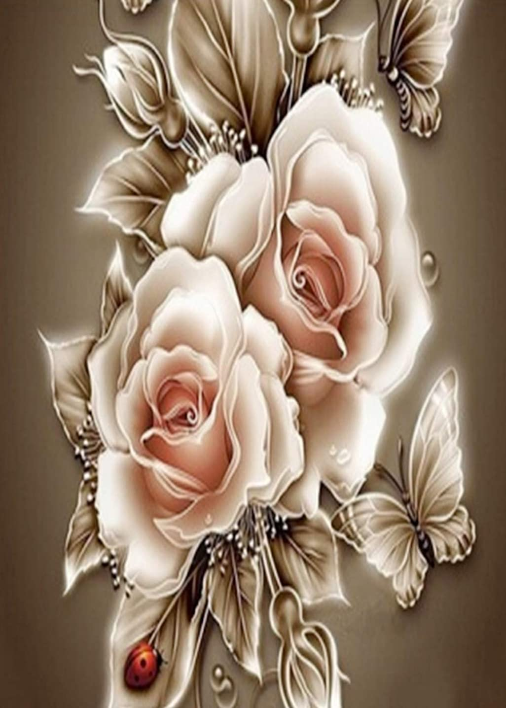 5D Diamond Painting Kits Full Drill Diamond Embroidery (12x16, Rose Butterfly)