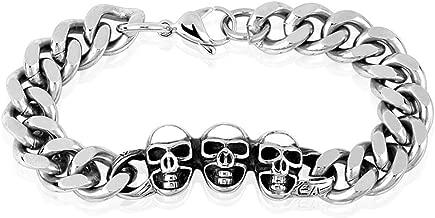 Bungsa® Doodshoofd roestvrij stalen armband zilver massief voor
