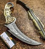 Custom Handmade Damascus Steel KARAMBIT Knife.- Damascus Hunting Knives with Leather Sheath, Skinner, Axes/Damascus Billets, Damascus Folding Knife, Kukri Knives.