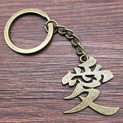 TAOZIAA Schlüsselring Chinesisches Schriftzeichen Ai Schlüsselbund 30x27mm Antike BronzeMode Handgemachtes Metall Keychain Souvenir Geschenke für Frauen