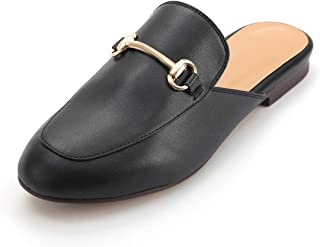Womens Leather Oxford Backless Slipper Slip-ons Loafer Shoes