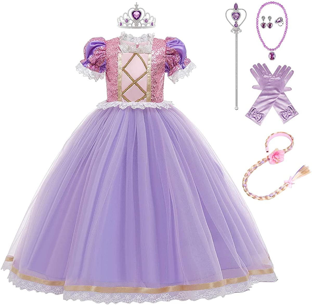 Girls Princess Dress Costumes Halloween Birthday Party with Cosplay Dresses