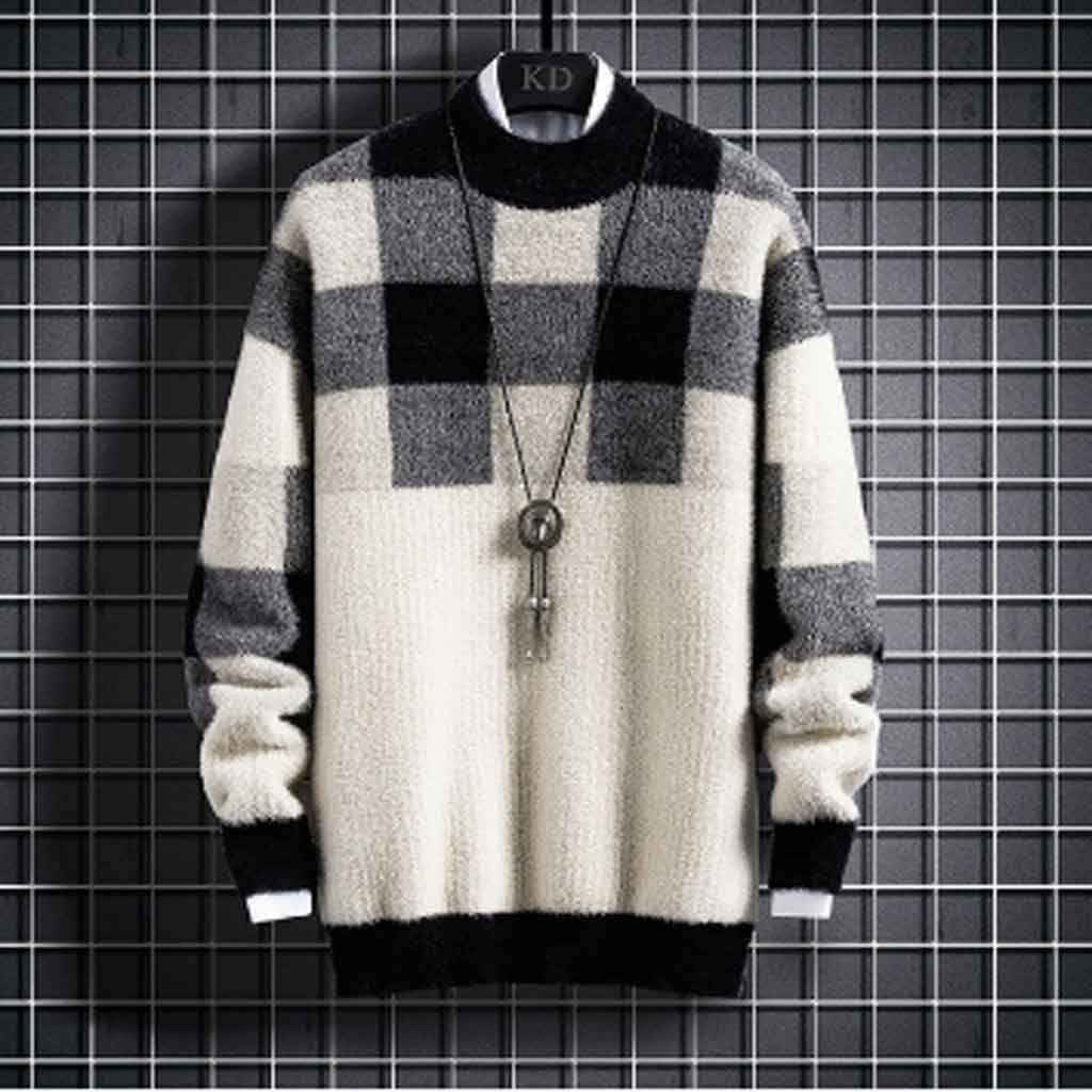 ZYING Ew Winter Cashmere Turtleneck Sweater Men Fashion Plaid Male Pullovers Thick Warm Mens Christmas Sweaters Tops (Color : Style 1)