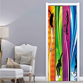 Sports,3D Door Stickers Decor Extreme Sports Color Borders Environmental Waterproof W38.5xH79