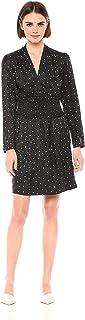 فستان حريمي بأكمام طويلة مطبوع عليه Rebecca Taylor مع فستان خصر دخاني