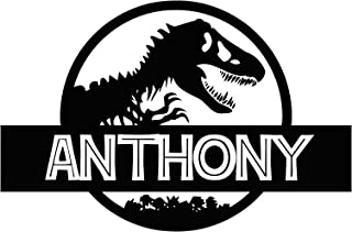 Custom Name Jurassic Era Logo Wall Decal Personalized Decal Tyrannosaur Vinyl Sticker Dinosaur T-Rex Wall Art Design Housewares Kids Room Bedroom Decor Removable Wall Mural (23
