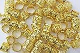 48PC Dreadlocks Beads Aluminum Cuffs Hair Decoration Filigree Tube (Gold)