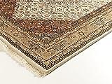 BADOHI BIDJAR echter klassischer Orient-Teppich handgeknüpft in creme-beige, Größe: 40x60 cm - 4