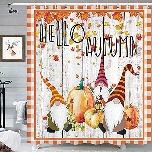 MERCHR Lustiger Herbst Zwerg Duschvorhang für Badezimmer, süßer Ernteherbst, Kürbis Sonnenblume Plaid orange Dekoration Duschvorhang Set mit Haken 175,4 x 177,8 cm