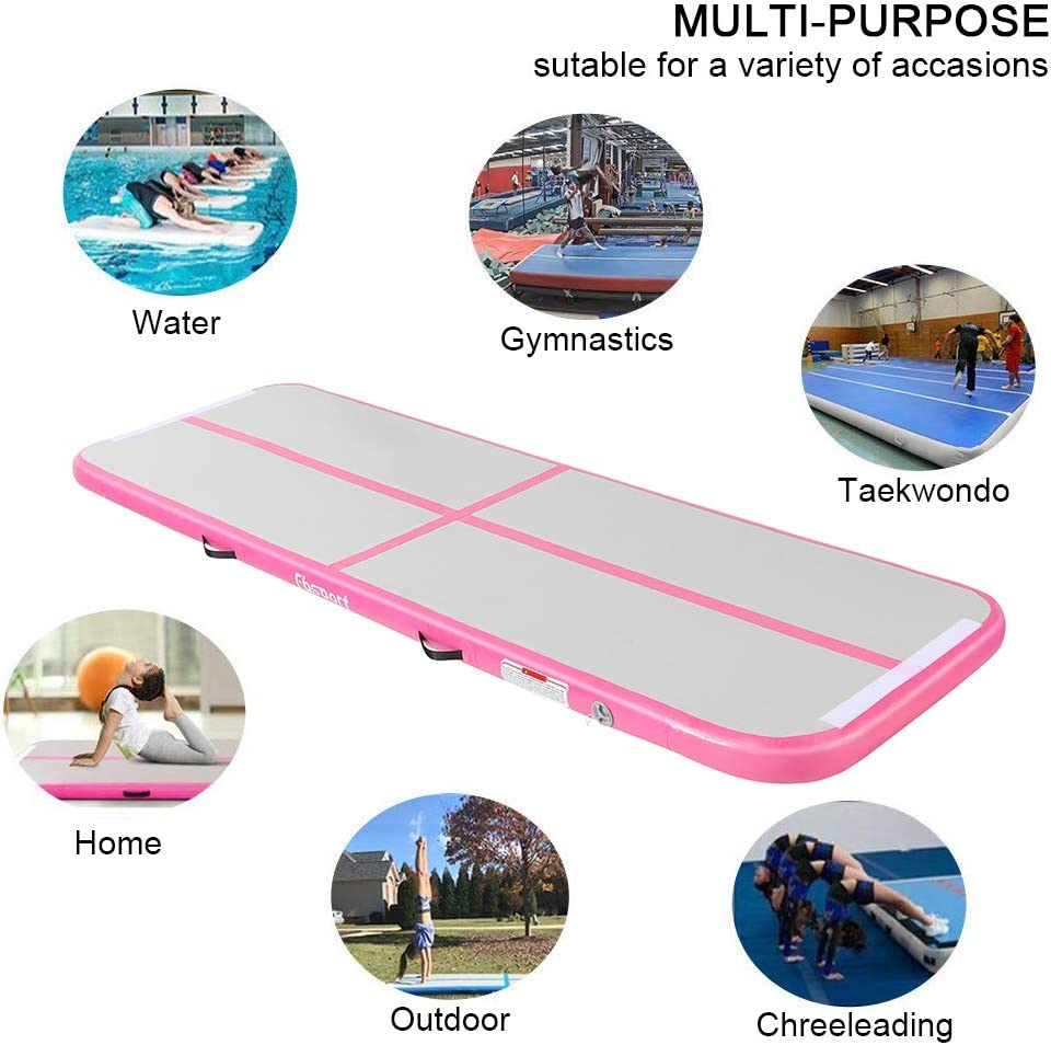 KIKILIVE Inflatable Gymnastics Mat, 4 /8inches Thickness Length Between 10ft to 39ft Air Gymnastics Track Mat, Gym Mats with Electric Air Pump for Training/Cheerleading/Training : Sports & Outdoors