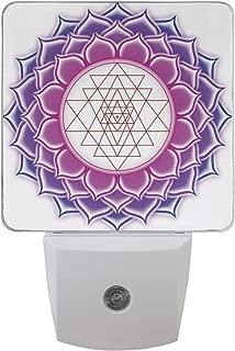 Sacred Geometry Yantra Mandala with Triangle Figures Yoga Illustration Ancient Auto Sensor LED Dusk to Dawn Night Light Plug in Indoor for Bedroom Bathroom Kitchen Hallway