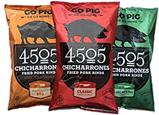 4505 Meats Chicharrones Fried Pork Rinds, Variety Pack Classic Chili & Salt Jalapeno Cheddar and Smokehouse BBQ, 3 Count