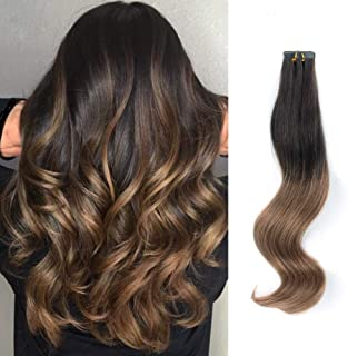 ABH AmazingBeauty Hair Pre-Taped Brown Ombre Hair Tape in Extensions Remy Human Hair Skin Weft, Invisible, Seamless and Reusable, Two Toned Darkest Brown Fading into Chestnut Brown T2-6, 14 Inch