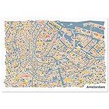 Póster con diseño de Amsterdam - Lámina de multicolour de la ciudad alemana de Plan de cartel de formato vertical u horizontal con los de lugares de interés canales, Amsterdam Centraal, la mayoría de Oude Kerk, el Rijksmuseum & el Vondelpark