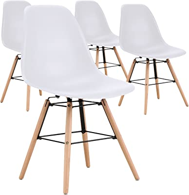 Menzzo Lot de 4 chaises Scandinave Lisa Blanc, Polypropylène, 90x101x78 cm