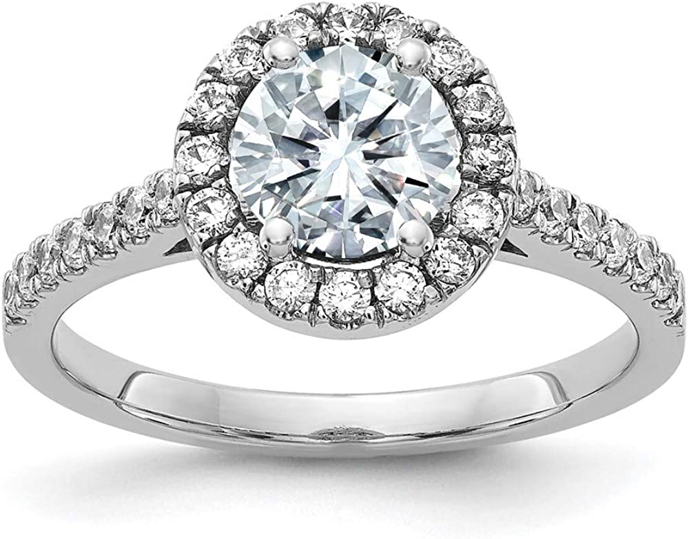 14k White Gold Round Halo Engagement Band Ring D E F Pure Moissanite Moissanitex Fine Jewelry For Women Gifts For Her