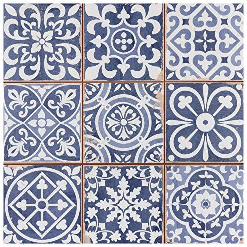 SomerTile FPEFAEA Romania Ceramic Floor and Wall Tile, 13' x 13', Blue