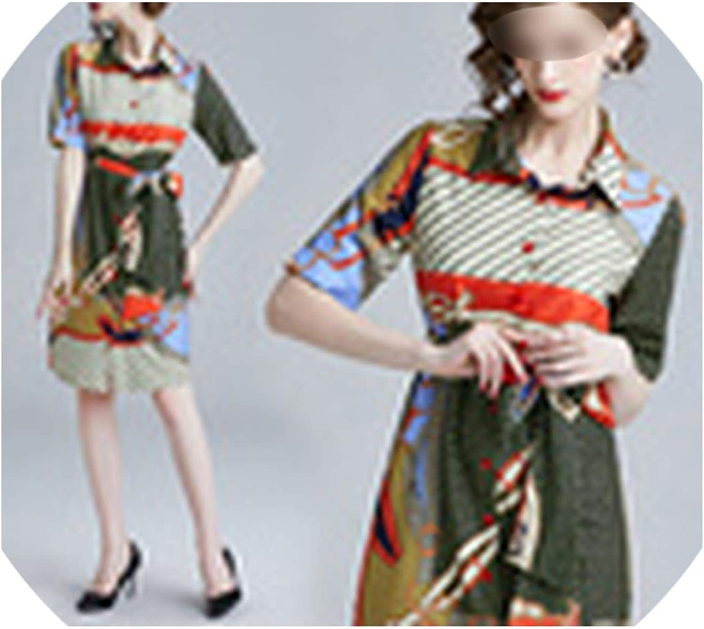 HeatTracing Women Short Sleeve TurnDown Collar Bowknot Vintage Print Slim Dress