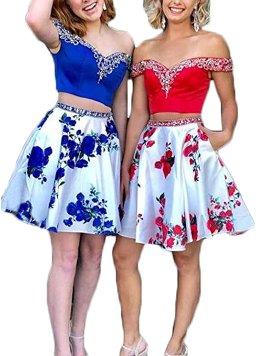 Ri Yun Floral Print Homecoming Dresses Short Two Piece 2018 Off The Shoulder Satin Beaded Prom Dresses with Pockets