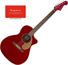 Fender Newporter Player Candy Apple Red Acoustic-Electric Guitar Bundle w/Fender