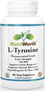 NutriWorth L-Tyrosine 750mg Pharmaceutical Grade, Hypoallergenic, Non-GMO - Supports Mental Alertness, Focu...