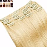 Extension a Clip Cheveux Naturel MAXI VOLUME Rajout 8 Bandes - Double Weft Clip in Remy Human Hair Extensions (#613 Blond très clair, 40cm-130g)