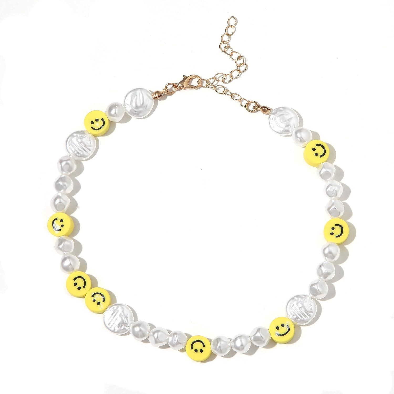 Hibijou Beaded Necklace Bead Pearl Shell Choker Necklace for Women EGirls Handmade Colorful Seed Beaded Choker for Women Jewelry