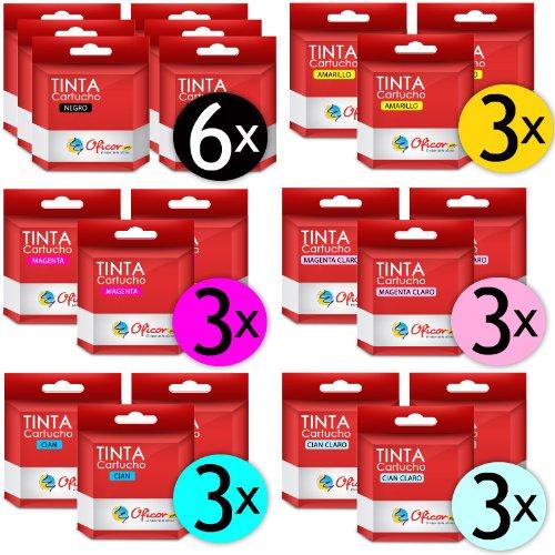 Pack de 21 Cartuchos de Tinta Oficor T0481 / T0482 / T0483 / T0484 / T0485 / T0486 genéricos compatibles con impresoras Epson Stylus Photo R200 R220 R300 R320 R340 RX500 RX600 RX620 RX639