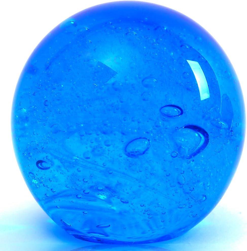EUSTUMA Hand Blown Glass Figurines Ball Ocean Bubbles,Paperweight Glass Ball,Home Decor Collectible,Aquarium Decor,Office Decor Ocean Lovers