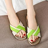 Qimite lino zapatillas,unisex summer slippers transpirable flax indoor slippers hombres mujer casual beach zapatos antideslizantes ropa de cama slip sandalias flip flops,green,37