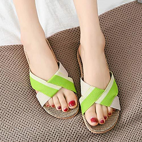 QIMITE Lino Zapatillas,Unisex Summer Slippers Transpirable Flax Indoor Slippers Hombres Mujer Casual Beach Zapatos Antideslizantes Ropa De Cama Slip Sandalias Flip Flops,Green,37