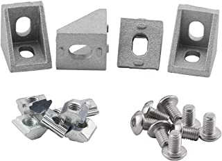 PZRT Aluminum Profile Connector Set, 4pcs 17mm x 20mm Corner Bracket,8pcs M5 Slider Nut, 8pcs M5x8mm Hex Socket Cap Screw Bolt for 6mm Slot 20 Series Aluminum Profile
