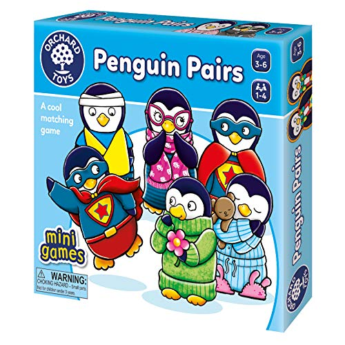 ORCHARD TOYS Penguin Pairs Matching Gam, Develops Observational and Matching Skills, Travel-Sized and Compact for Fun Playtime Anywhere, Perfect for Home Learning, for Ages 3-6