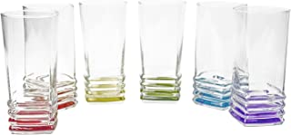Color Wave Contemporary Style Clear Glass Tumblers, 11.25 Ounce, Set of 6