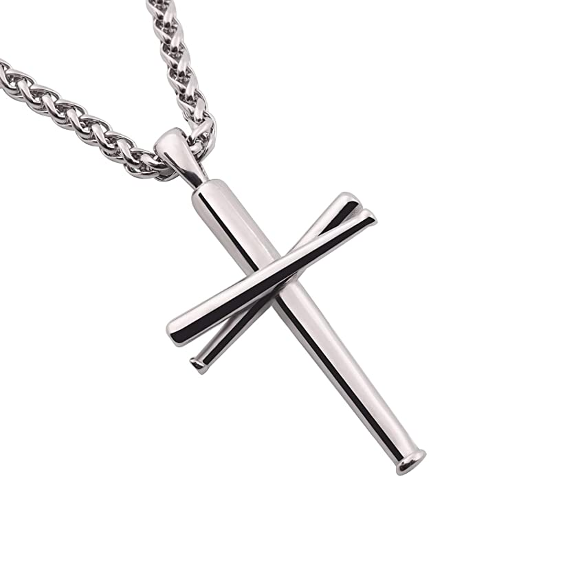 RMOYI Cross Necklace Baseball Bats Athletes Cross Pendant Chain,Sport Stainless Steel Cross Necklaces for Men Women Boys Girls,Large and Small Silver Black 20-24 Inches