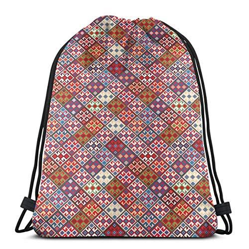 JHUIK Drawstring Bag Backpack,Bolsas de Mochilas con cordón Impresas, Varias Figuras cuadradas...