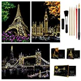 Scratch Painting Kits, Craft Art Set for Adults & Kids, Rainbow Scratch Art Painting Paper, Sketch Pads DIY Scratchboard, 16'' x 11.2'' Creative Gift - with 7 Tools (Tower Bridge/Eiffel Tower/Big Ben)