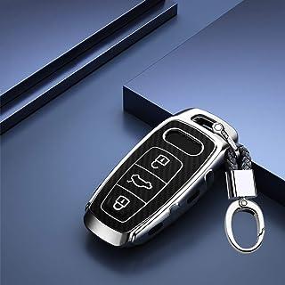 ontto Autoschlüssel Hülle Cover fürAudi A6 A7 A8 E Tron S6 RS6 S7 RS7 Q7 SQ7 Q8 SQ8 A8L A6L 2019 2020 Schlüsselhülle mit Schlüsselanhänger Weiche TPU Schlüssel Schutz Etui Case 3 Tasten Silber