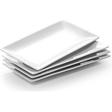 Dessert Rectangular Trays White Serving Platters for Meat Food Gonioa Set of 4 Porcelain Serving Platters Party,9.8 x 5.9 Inch Appetizers